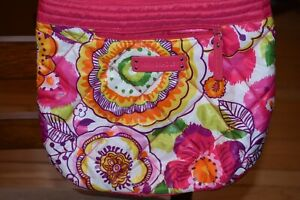 VERA BRADLEY CLEMENTINE PINK FLORAL PUFFY CROSSBODY BAG QUILTED NYLON