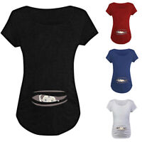 Women Pregnancy Maternity Summer Baby Print Short Sleeve T Shirt Blouse Tops Tee