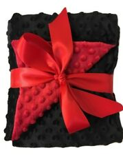 """Minky Dot Baby Blanket double sided throw Red/Black toddler bedding 29"""" x 36"""""""