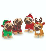 Keel Toys Pugsley 25cm Christmas Pug Dog 4 Designs Cuddly Soft Toy Teddy SX2675