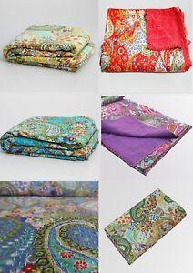 Indien Handmade Vintage Paisley Kantha Quilt Twin Bedding Bedspread Decor Throw