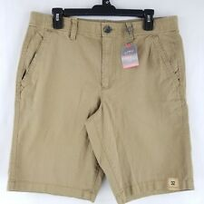 Urban Pipeline Mens Khaki Shorts Flat Front Stretch Light Brown Size 32 NEW