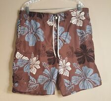 Swim Trunks Authentic Classic Swimwear Consensus Mens Size Medium Brown Floral