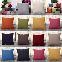 "18"" Cotton Linen Sofa Car Home Waist Cushion Cover Throw Pillow Case Solid Color"