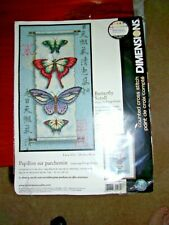 "New ListingDimensions Butterfly Scroll Cross Stitch Kit 8"" x 14"""