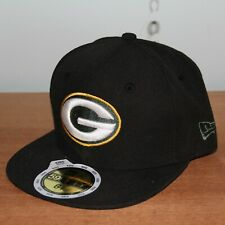 New Era Green Bay Packers 59Fifty Fitted Flat Bill Hat Youth 6 1/2 Black NFL