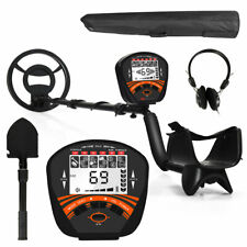 High Accuracy Metal Detector w/Back-lit Lcd Waterproof Search Coil Headphone Bag