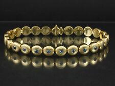 Sehr langes schweres Aquamarin Tennis Armband 23cm   55,3g 750/-Gelbgold