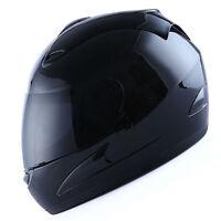 NEW WOW Motorcycle Full Face Helmet Street Bike Adult Glossy Black DOT S M L XL