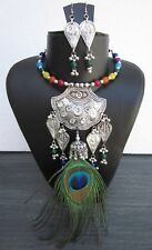 Peacock Feather Charm Boho Necklace Vintage Retro Bohemian Gypsy Wiccan Fashion