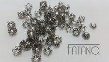 50 filigrane Perlkappen Perlenkappen 10 mm silber Spacer Schmuck basteln R76