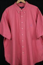 Ralph Lauren Mens Sz 3XB Pink Btn Up Shirt Blue Pony Oxford