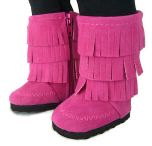"""Hot Pink Moccasin Boots Fringe for 18"""" American Girl Doll Clothes"""