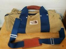 VINTAGE 70S 80S THE NORTH FACE KHAKI BROWN DUFFLE BAG w/BLUE SHOULDER STRAP