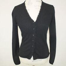 White + Warren 2-Ply 100% Cashmere Raw Hem Black V-Neck Cardigan Sweater Small