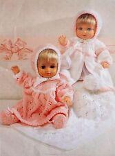 "Dolls Vintage Knitting Pattern Coat Dress Bonnet Bootees Blanket 12-22"" P5092"