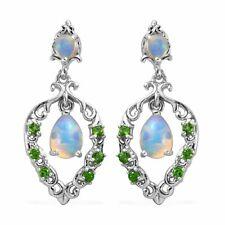 Plata esterlina 925 Opal Dangle Pendientes de platino sobre Joyería Regalo CT 0.6