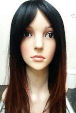 Marrón Peluca de cabello humano, Pelo Real, mezcla de pelo, Morena, marrón oscuro, franja lateral