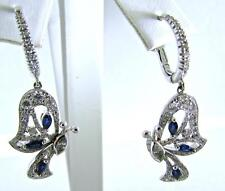MIIORI 18 KT WHITE GOLD BLUE SAPPHIRES WHITE DIAMONDS BUTTERFLY EARRINGS