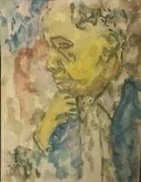 Original African American 8.5x11 Watercolor Painting