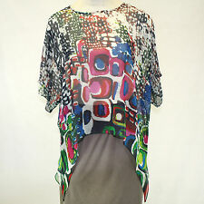 NEW NWT Cocoon House Wearable Art City Lights 100% Silk Pointed Top Large / XL