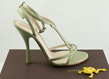 Bottega Veneta 307894VX190 Ankle Strap Green 8.5 Leather Heels sandals $740