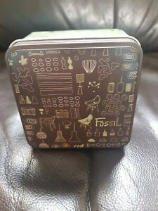 Fossil Empty Collectible Tin Watch/Jewellery Box
