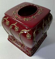 New Anna's Linens ceramic Resin square Floral  tissue cover burgundy / Gold