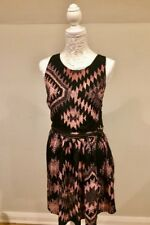 032f2541ff Topshop Ladies Size 14 Black pink Aztec Pattern Sleeveless Zip Skater Dress