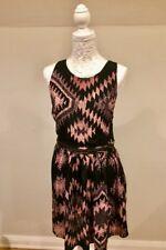 Topshop Ladies Size 14 Black/pink Aztec Pattern Sleeveless Zip Skater Dress