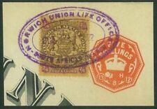 RHODESIA - 1896 2/6 Arms on piece (plus 5/- embossed) used as Revenue (ME954)*