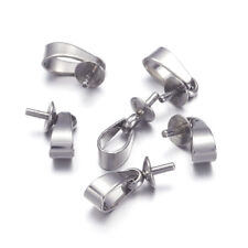 10pcs 304 Stainless Steel Screw Bails Holder Findings for Half Drilled Bead 12mm