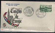 1952 - Enveloppe 1°Jour - Congrès de L'Europe - Strasbourg - Timbre - Yv.923