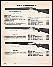 1992 SKB Model 505, 605 Sporting Clays 885 Field Shotgun AD w/prices all models