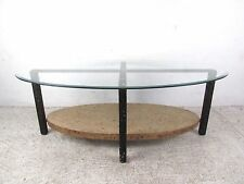 Mid-Century Style Oval Rock Form Glass Coffee Table (5378)NJ