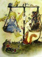 Sulamith Wulfing 1932 GIRL CHILD on a SCALE w ANIMALS& GNOMES MOUSE SQUIRREL Art