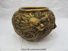 Chinese Royal Copper Bronze Dragon fly in the clouds censer Bottle Pot Tank