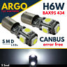 H6W LED SMD 433 434 BAX9S BAYONET CAR SIDE LIGHT WHITE BULBS ERROR FREE CANBUS