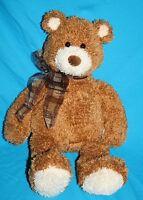 "GUND TEDDY BEAR 16"" KIOSHI Stuffed Brown Plush Soft Toy Plaid Neck Bow 15202"