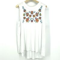 Plus Size 2X Style & Co Sleeveless Embroidered Floral Blouse Multi White C017