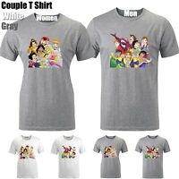Disney Prince Princess Funny Cute Couples T-shirt Men's Women's Graphic Tee Tops