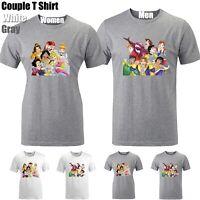 Disney Prince Princess Funny Cute Couples T-shirt Men's Women's Graphic Tee Tops