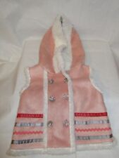 Cynthia Rowley Pink Suede Hooded Coat with White Faux Fur Lining Girl's 3-6 Mos