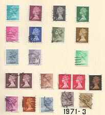 Gran Bretaña; 1971-3 primer decimal problema; 20 Valores Usados