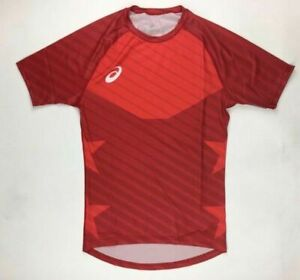 Asics Sub Comp 1/2 Sleeve Training Fitted Shirt Men's Large Red A081A020