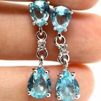 Gorgeous Blue Aquamarine Drop Earrings Women Engagement Jewelry Gift 14K Gold