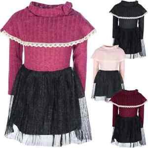 Kinder Mädchen Peticoat Fest Kleid Kostüm Langarm Rollkragen Kleider 30224