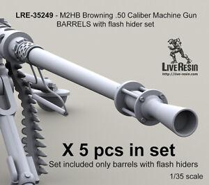 Live Resin 1/35 M2HB Browning .50 Calibre MG Barrels Set with Flash Hider (5pcs)