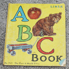 Vintage 1941 Children's Linen ABC Book Colorful Illustrated Platt & Munk, Co USA