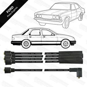 Ford Pinto Engine 4 Cylinder Performance Double Silicone 8mm HT Leads In Black